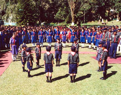 Scout Guide Students at national anthem